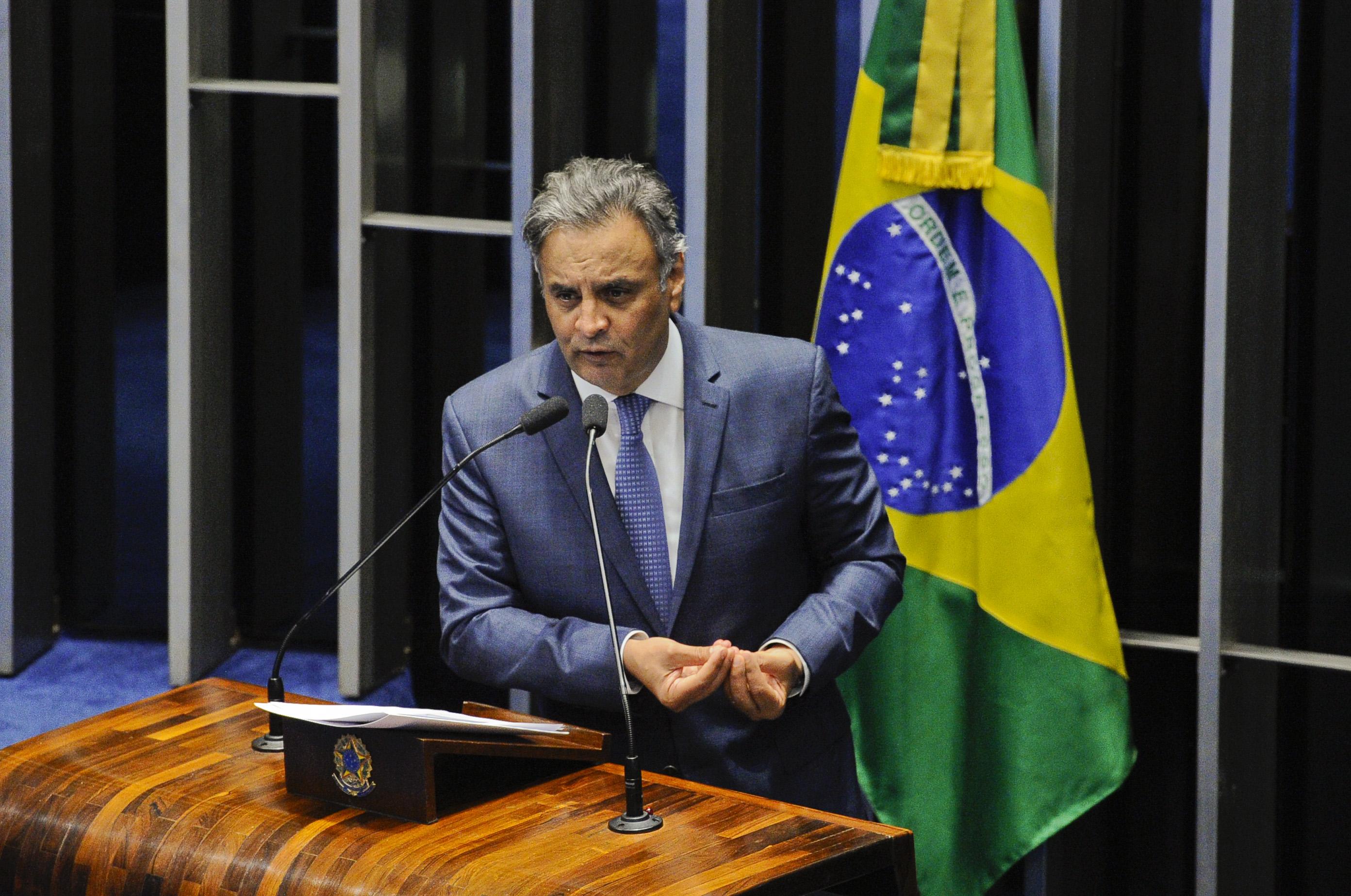 Plenário do Senado Federal durante sessão deliberativa ordinária.   Em discurso, senador Aécio Neves (PSDB-MG).  Foto: Marcos Oliveira/Agência Senado